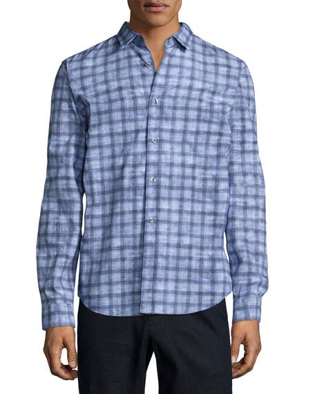 Vince Melrose Printed Long-Sleeve Shirt, Light Blue