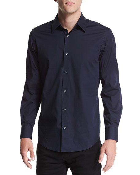 Vince Long-Sleeve Stretch Poplin Shirt, Navy