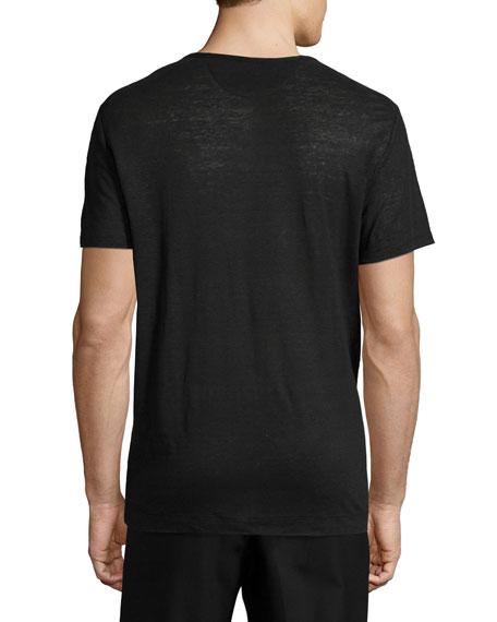 Vince Short Sleeve V Neck Linen T Shirt Black