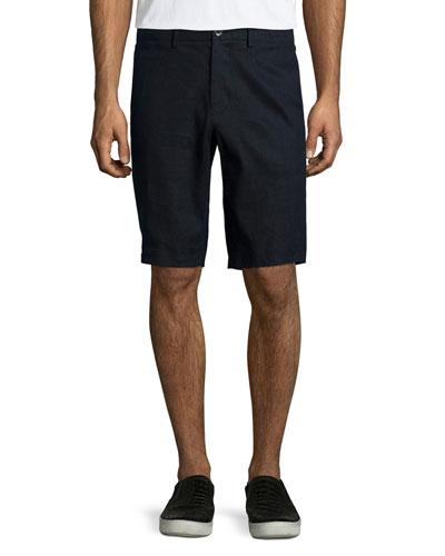 Flat-Front Linen Shorts, Navy