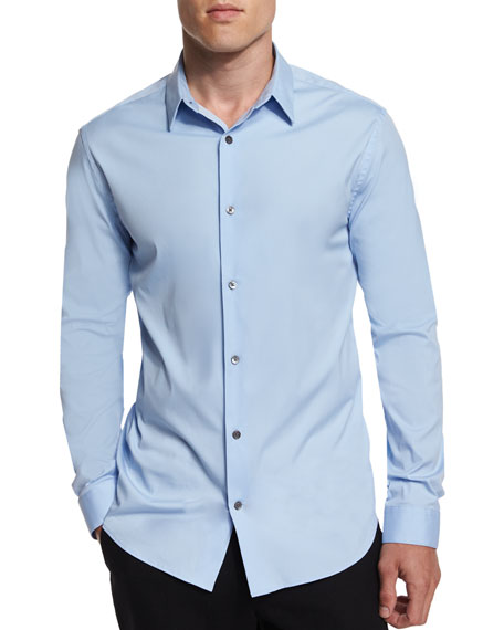 Vince Stretch Poplin Long-Sleeve Shirt, Light Blue