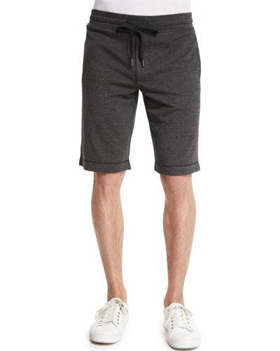 Interlock Drawstring Pull-On Shorts, Black
