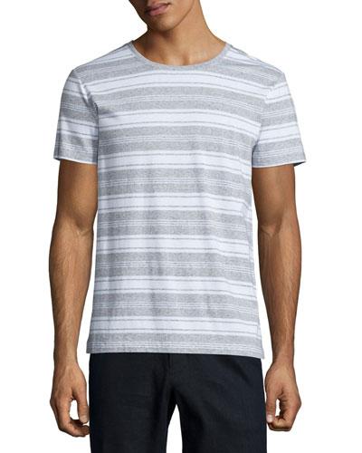 Jasper Striped Short-Sleeve Tee, Gray/White