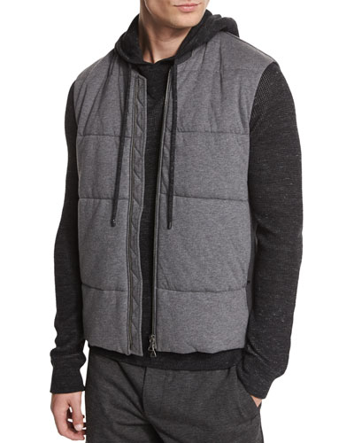 Quilted Zip-Up Vest, Charcoal