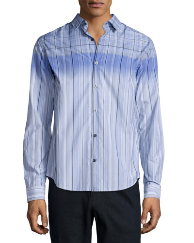 Engineered Multi-Print Long-Sleeve Shirt, Light Blue