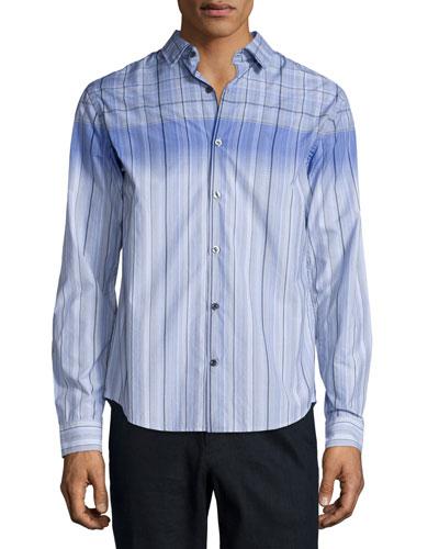 Engineered Multi-Print Long-Sleeve Shirt, Light Blue
