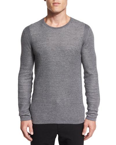 Thermal Knit Crewneck T-Shirt, Gray
