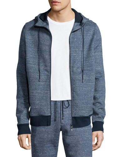 Double-Faced Melange Zip-Up Hoodie, Navy