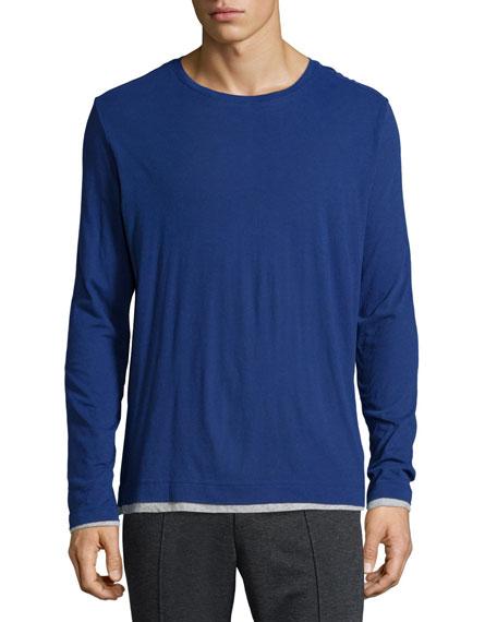 Vince Double-Layer Crewneck T-Shirt, Blue