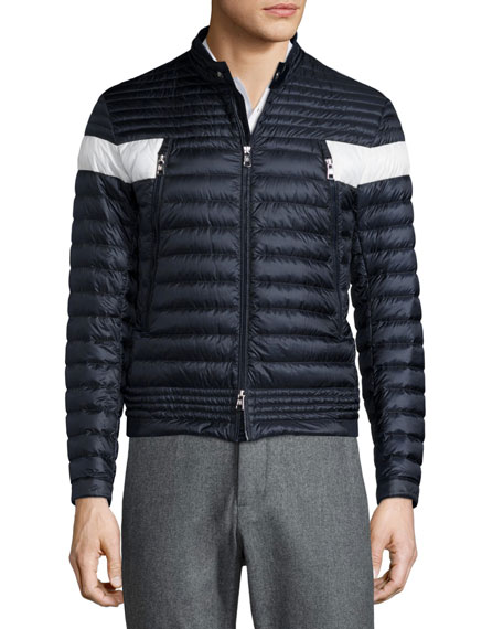 Moncler Foret Quilted Nylon Jacket with Contrast Stripe, Navy