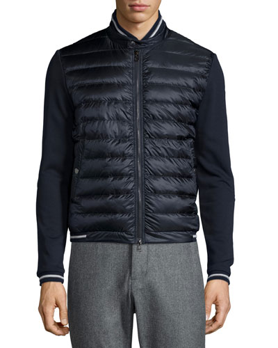 Quilted Nylon-Front Track Jacket, Navy
