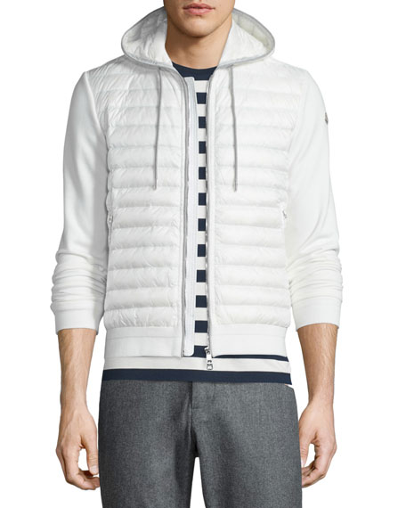 Moncler Quilted Nylon Zip-Up Hoodie, White