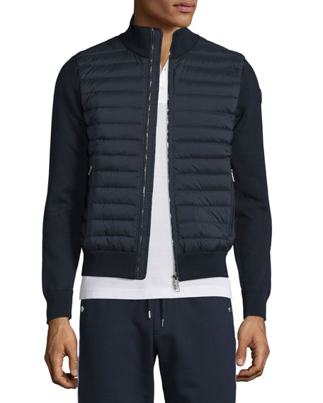 moncler down quilted front ribbed jacket - navy