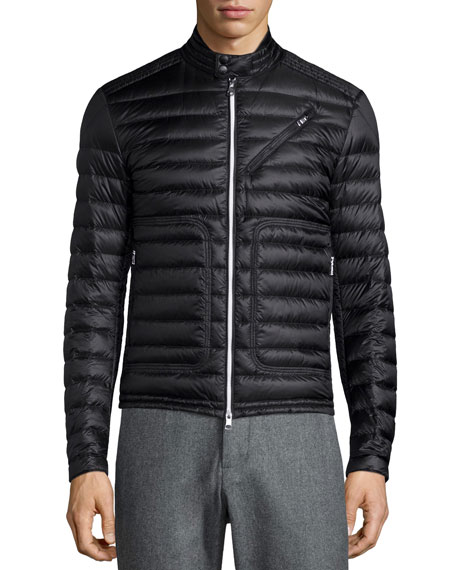 Moncler Picard Quilted Nylon Moto Jacket, Black