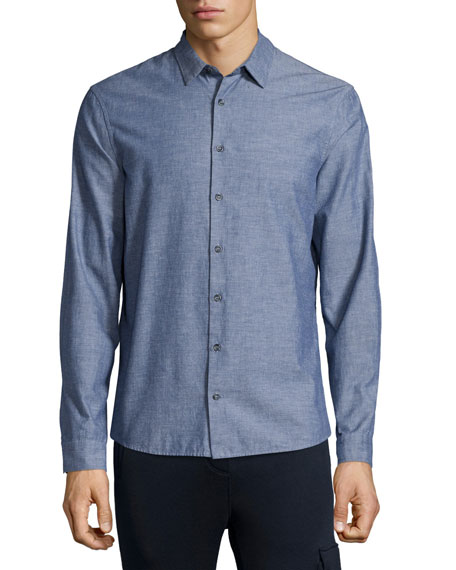 ATM Chambray Long-Sleeve Shirt, Navy