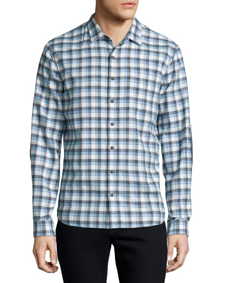 ATM Plaid Flannel Long-Sleeve Sport Shirt, Gray/Blue