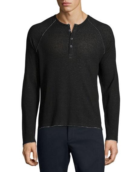 ATM Raw-Cut Raglan Sleeve Henley Shirt, Black