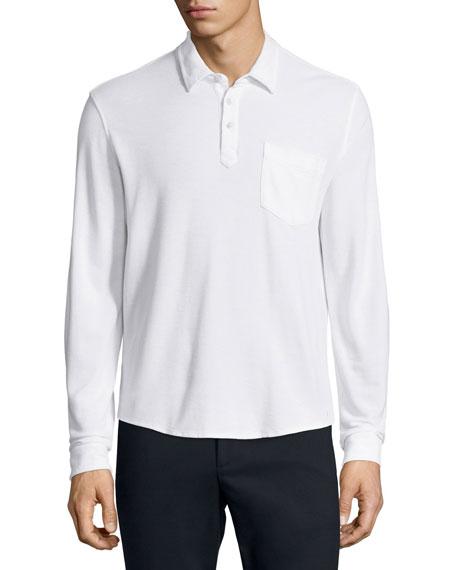 ATM Long-Sleeve Polo Shirt, White