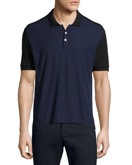 ATM Colorblock Short-Sleeve Polo Shirt, Black/Navy