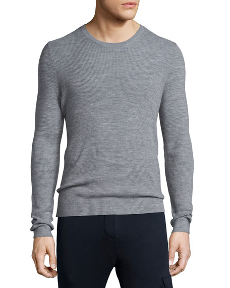ATM Anthony Thomas Melillo Thermal-Stitch Crewneck Sweater, Gray