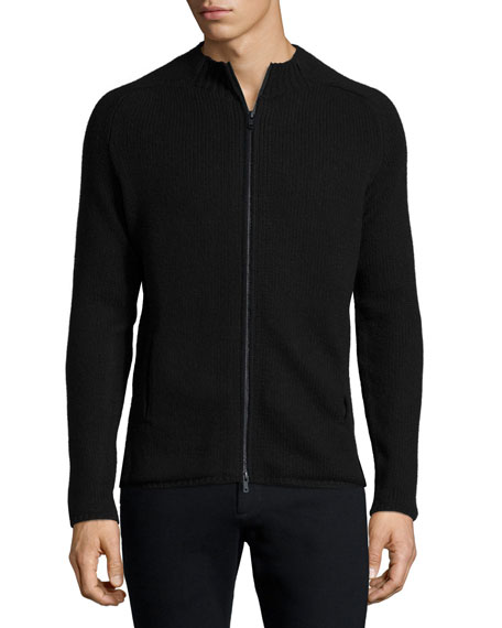 ATM Ribbed Full-Zip Sweater, Charcoal