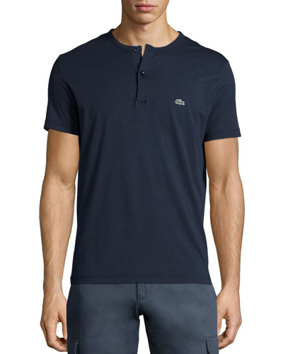 Short-Sleeve Henley Shirt, Navy