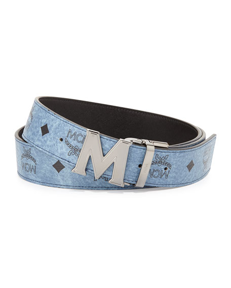 Mcm reversible m buckle monogram belt denim neiman marcus for What does mcm the designer stand for