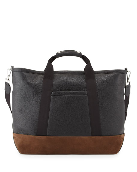 TOM FORD Men's Two-Tone Leather Weekender Bag, Black/Brown