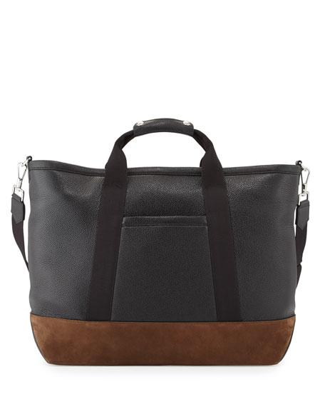 TOM FORD Men's Two-Tone Leather Weekender Bag, Black/Brown