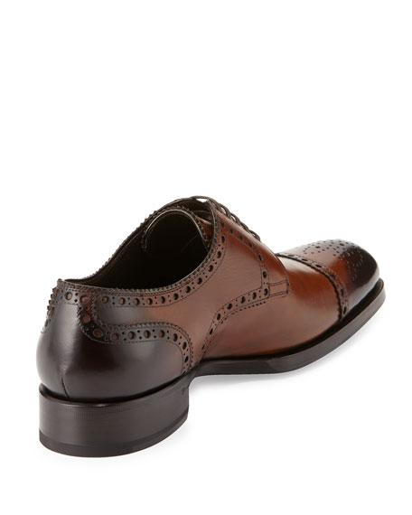 Edward Med-Cap Wing-Tip Derby Shoe, Brown