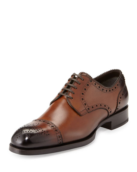 TOM FORD Edward Med-Cap Wing-Tip Derby Shoe, Brown