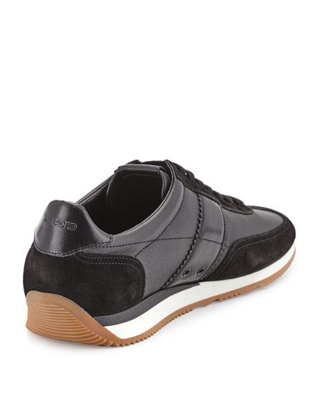 Men's Colorblock Leather-Suede Runner Sneakers, Black
