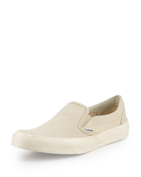 TOM FORDCambridge Kid Leather Slip-On Sneaker, Light Tan