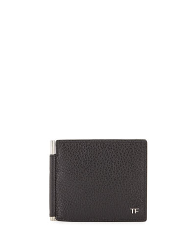 Men's Leather Bi-Fold Wallet with Money Clip, Black