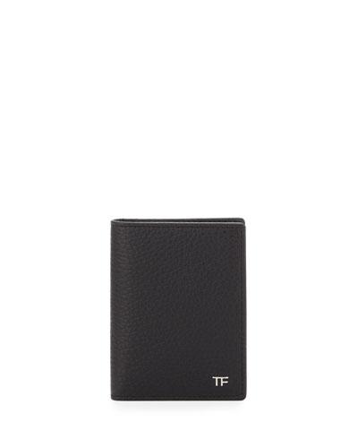 Folded Calfskin Credit Card Case, Black