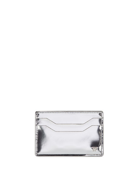 TOM FORD Men's Mirrored Leather Card Case, Silver