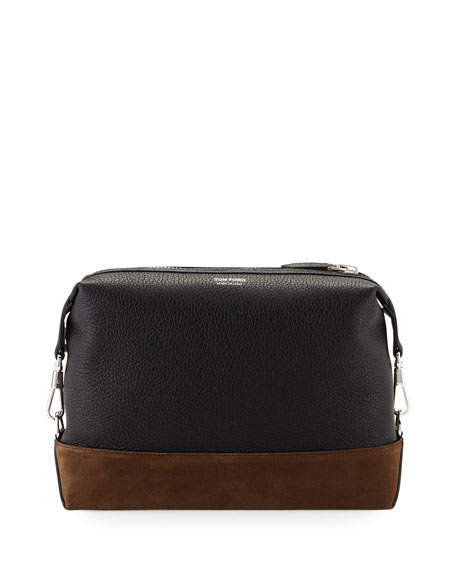 TOM FORD Two-Tone Leather Toiletry Bag, Black/Brown