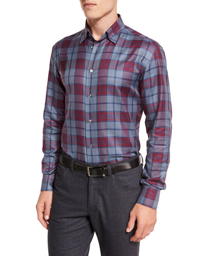Tartan Plaid Long-Sleeve Sport Shirt, Red/Blue