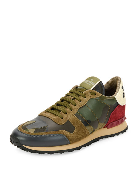 Valentino Rockrunner Leather Trainer Sneaker with Embroidered