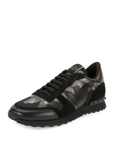 Valentino Rockrunner Metallic Camo-Print Trainer Sneaker, Black