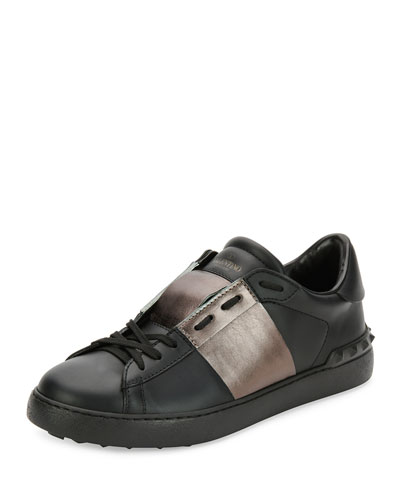 Valentino Leather Low-Top Sneaker with Stripe, Black/Gunmetal