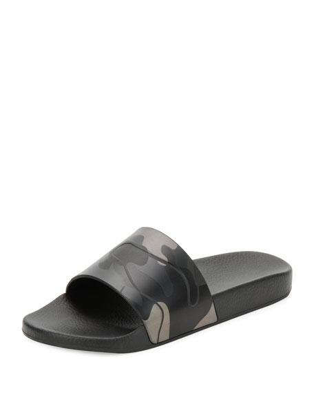 Camo-Print Slide Sandal, Black