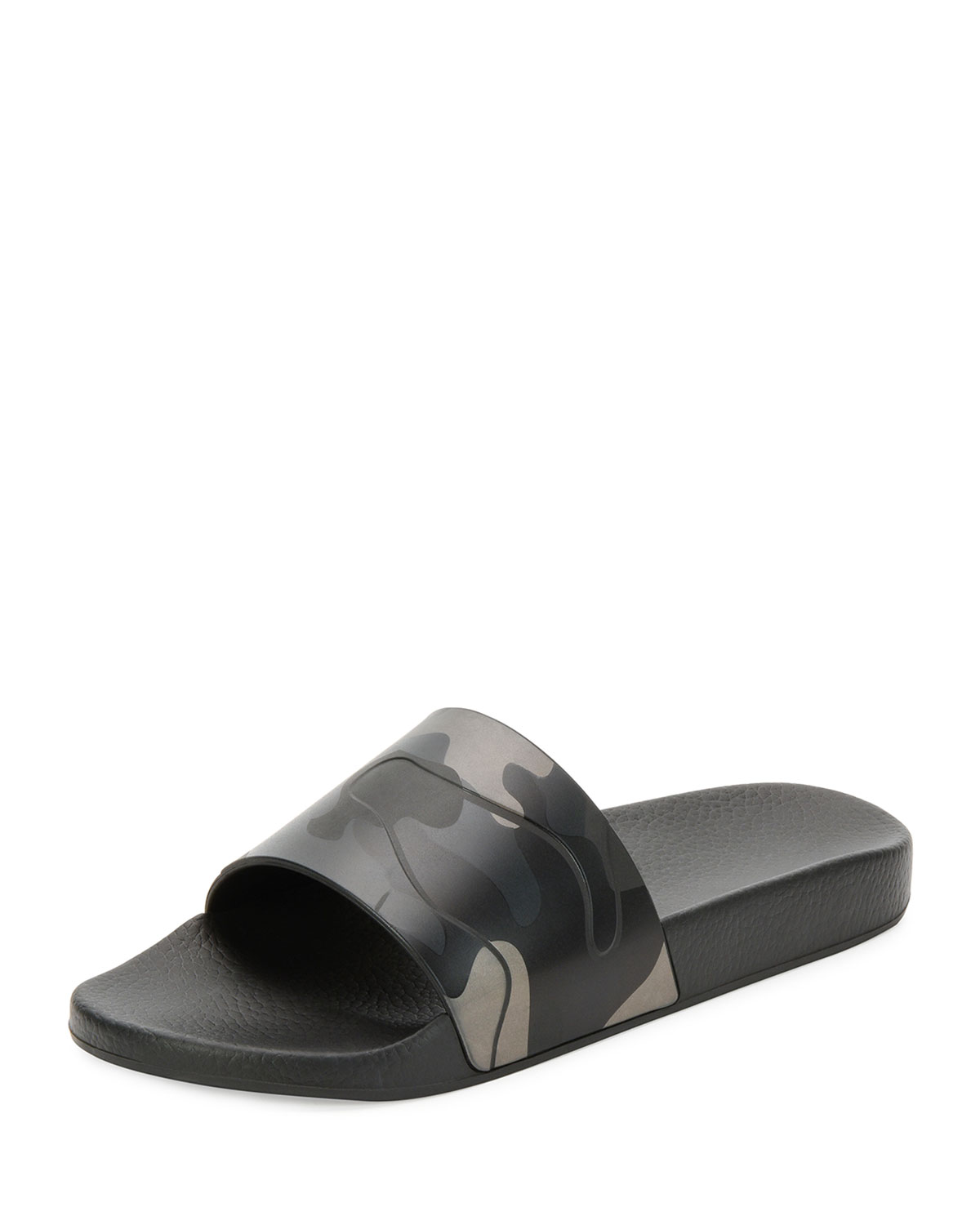 Valentino CAMOUFLAGE PRINTED RUBBER SLIDE SANDALS