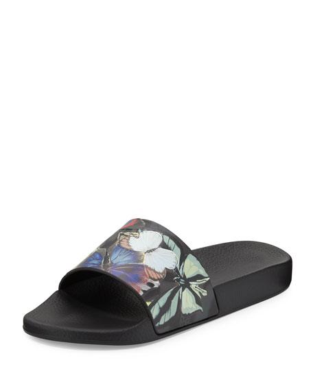 Valentino Butterfly-Print Slip-On Sandal, Blue