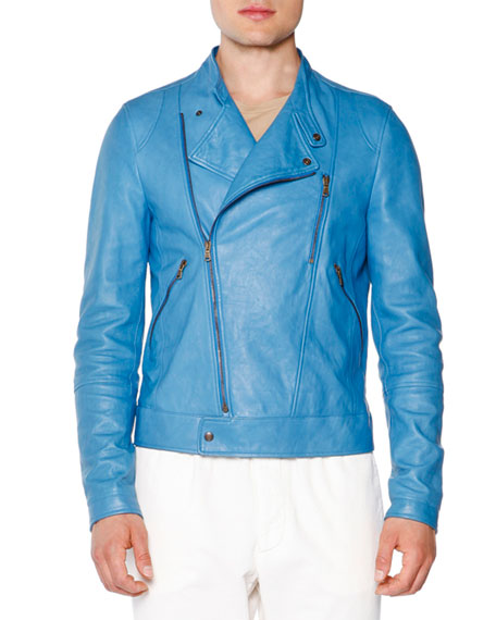 Asymmetric Leather Moto Jacket, Blue