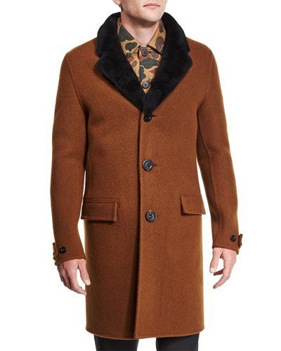 Button-Down Wool Coat with Shearling Fur Collar, Dark Brown