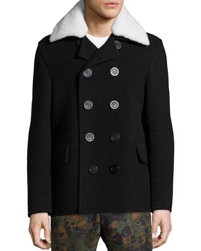 Double-Breasted Wool Coat with Shearling Fur Collar, Black