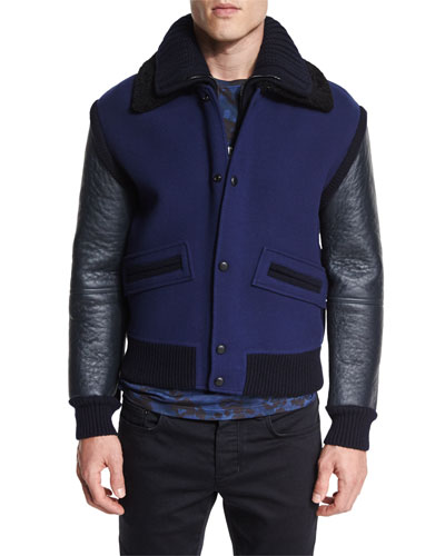 Leather-Sleeve Biker Jacket, Navy