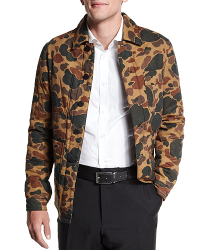 Camo-Print Button-Down Jacket, Light Brown