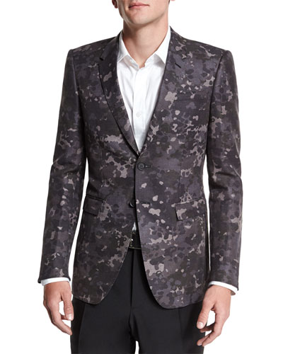 Camo-Print Two-Button Blazer, Charcoal